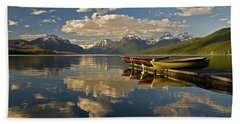 Bath Towel featuring the photograph Boats At Lake Mcdonald by Gary Lengyel