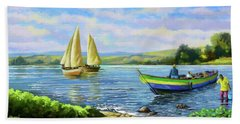 Hand Towel featuring the painting Boats At Lake Victoria by Anthony Mwangi