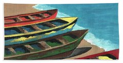 Hand Towel featuring the painting Boats In A Row by Kathleen Sartoris