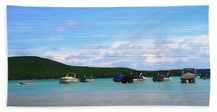 Boats In Sleeping Bear Bay Wood Texture Hand Towel by Dan Sproul