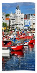 Boats In The Harbor - La Coruna Hand Towel by Mary Machare