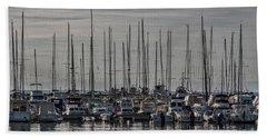 Hand Towel featuring the photograph Boats In The Izola Marina - Slovenia by Stuart Litoff