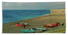 Hand Towel featuring the photograph Boats On Chesil Beach by Anne Kotan