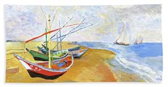 Hand Towel featuring the painting Boats On The Beach At Saintes-maries After Van Gogh by Rodney Campbell