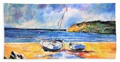 Boats On The Beach Bath Towel