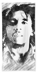 Bob Marley Bw Portrait Bath Towel