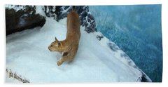 Hand Towel featuring the digital art Bobcat On A Mountain Ledge by Chris Flees