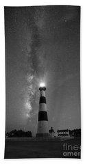 Bodie Island Light Milky Way Portrait Bw Bath Towel