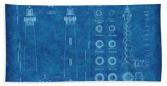 Bodie Island Lighthouse Blueprint Hand Towel