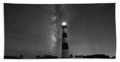 Bodie Island Lighthouse Milky Way Bw Bath Towel