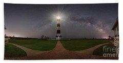 Bodie Island Lighthouse Milky Way Pano Bath Towel