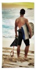 Hand Towel featuring the photograph Boggie Boarder At Waimea Bay by Jim Albritton
