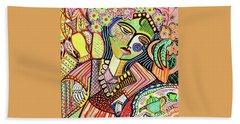Bohemian Tea Garden Woman' Hand Towel by Sandra Silberzweig