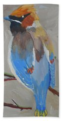 Hand Towel featuring the painting Bohemian Wax Wing by Francine Frank