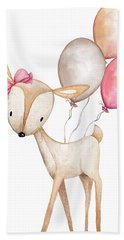 Boho Deer With Balloons Bath Towel