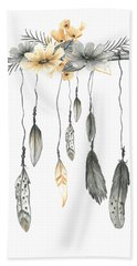 Boho Feathers Floral Branch Hand Towel