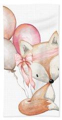 Boho Fox With Balloons Bath Towel