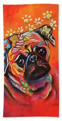 Bath Towel featuring the mixed media Pug by Patricia Lintner