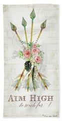 Bath Towel featuring the painting Boho Western Arrows N Feathers W Wood Macrame Feathers And Roses Aim High by Audrey Jeanne Roberts