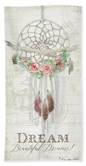 Bath Towel featuring the painting Boho Western Dream Catcher W Wood Macrame Feathers And Roses Dream Beautiful Dreams by Audrey Jeanne Roberts