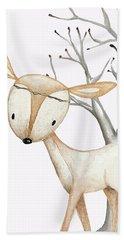 Boho Woodland Baby Nursery Deer Twine Watercolor Hand Towel