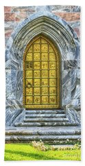Hand Towel featuring the photograph Bok Tower Door by Deborah Benoit