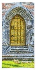 Bath Towel featuring the photograph Bok Tower Door by Deborah Benoit