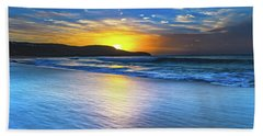Bold And Blue Sunrise Seascape Hand Towel