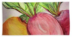 Bath Towel featuring the painting Bold Beets by Kim Nelson