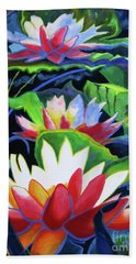 Hand Towel featuring the painting Bold Lilypads by Kathy Braud