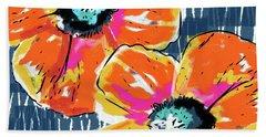 Bold Orange Poppies- Art By Linda Woods Bath Towel by Linda Woods