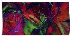 Hand Towel featuring the digital art Bold Red by Deborah Benoit
