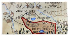 Bonanza Series Ponderosa Map  1959 Hand Towel