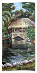 Bath Towel featuring the painting Bonnet House Chickee by Patricia Piffath
