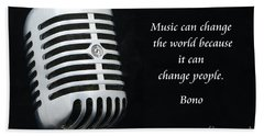 Bono On Music Hand Towel by Paul Ward