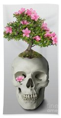 Bath Towel featuring the painting Bonsai Skull by Ivana Westin