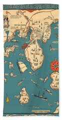 Boothbay Harbor And Vicinity - Vintage Illustrated Map - Pictorial - Cartography Bath Towel