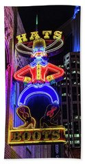 Boots And Hat Neon Sign Bath Towel