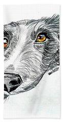 Border Collie Dog Colored Pencil Hand Towel by Scott D Van Osdol