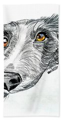 Border Collie Dog Colored Pencil Bath Towel