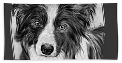 Border Collie Stare Bath Towel
