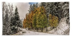 Bath Towel featuring the photograph Boreas Pass Road Aspen And Snow by Stephen Johnson