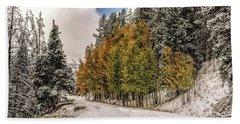 Boreas Pass Road Aspen And Snow Bath Towel by Stephen Johnson