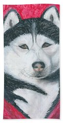 Bath Towel featuring the drawing Boris The Siberian Husky by Ania M Milo