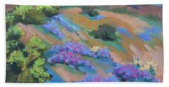 Bath Towel featuring the painting Borrego Springs Verbena by Diane McClary