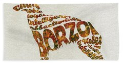 Bath Towel featuring the painting Borzoi Dog Watercolor Painting / Typographic Art by Inspirowl Design