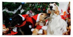 Borzoi Hounds Dressed As Father Christmas Bath Towel