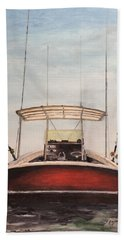 Hand Towel featuring the painting Helen's Boat by Stan Tenney