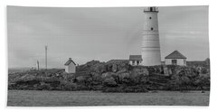 Boston And Graves Lighthouses In Monochrome Bath Towel by Brian MacLean