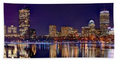 Hand Towel featuring the photograph Boston Back Bay Skyline At Night 2017 Color Panorama 1 To 3 Ratio by Jon Holiday